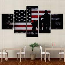 American Flag Decor American Flag Soldier Military Wall Art On Canvas Framed Unframed