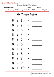 multiplication times tables worksheets aussie childcare network