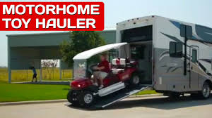 motorhome garages motorhomes with garages best toy haulers outlaw rv review youtube