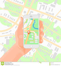 Navigation Map Man Holding Smartphone In Hand With Mobile Gps Navigation Map