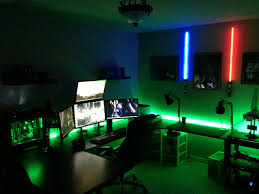 amazing computer setups and gaming room design with lighting green