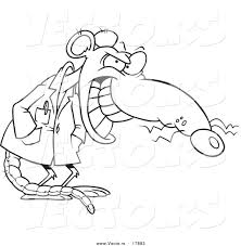 vector of a cartoon grinning lab rat outlined coloring page by