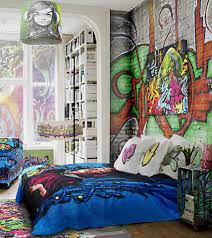 Brick Walls Decorating With Graffiti In Cool Bedroom Wall Stickers - Creative bedroom wall designs