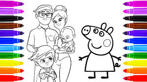 how to draw peppa pig u0026 the boss baby family painting for kids