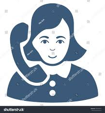 receptionist vector icon flat blue symbol stock vector 566346937