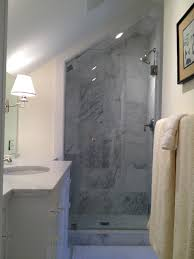 Bathroom Floor To Roof Charcoal by Frameless Glass Door In Marble Shower With Slanted Ceiling