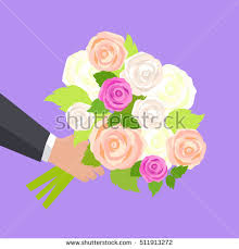 Wedding Flowers Roses Wedding Bouquet Pink White Green Roses Stock Vector 511913272