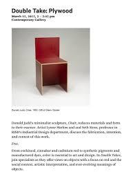 Donald Judd Chair Donald Judd Double Take Glenn Gissler Design Glenn Gissler Design