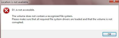 drive not accessible free fix the volume does not contain a recognized file system