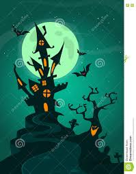 vector halloween haunted house on night background with a full moon behind vector