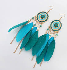 feather earrings online blue feather earrings online shopping cheezmall