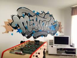 Deco Salle De Jeux Déco Murale Graffiti Dans La Chambre Salle De Jeux Du Jeune Mathis