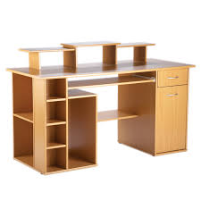 modern light brown birch wood computer desk with drawers and