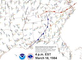 Surface Map Carolinas Tornado Outbreak March 28 1984