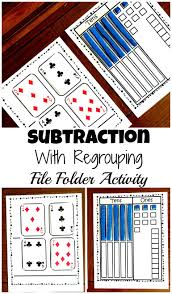 grab a free subtraction with regrouping file folder activity