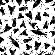 seamless pattern with silhouettes of insects vector clipart image
