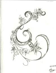 ink outline swirl with flowers accent detail tattoo design add