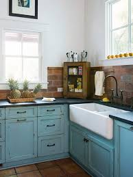 Rustic Painted Kitchen Cabinets by Cottage Kitchen Cottage Kitchens Bricks And Sinks