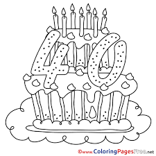 40 years cake free happy birthday coloring sheets