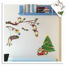 happy christmas wall stickers boys room girls room home decor cute monkey christmas tree wall sticker