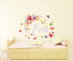 personalised watercolour flower butterfly name wall sticker by