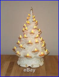 vtg 16 ceramic lighted white tree atlantic mold gold