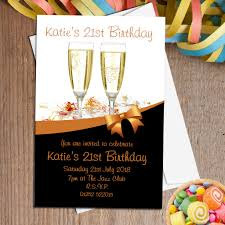 21st Birthday Invitation Cards 10 Personalised Gold Champagne Party Invitations N92