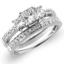 wedding ring set for 3 14k white gold princess cut wedding ring set