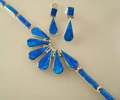 blue opal mexican silver opal necklace u0026 bracelet set taxco 925