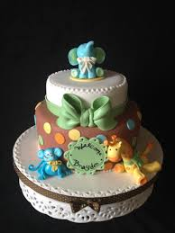 baby shower cake for a little boy jungle animal theme with monkey