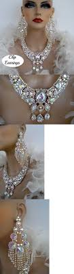 drag clip on earrings jewelry sets 50692 drag ab silver rhinestone necklace clip