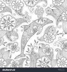 coloring page one jumping dolphin on stock vector 507130027