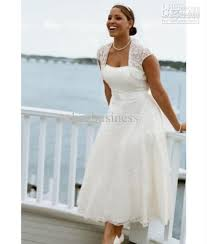 plus size wedding dresses with sleeves tea length discount selling tea length a line lace bridal dresses plus