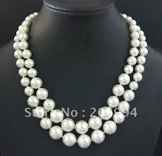 white shell pearl necklace images Factory price double pink freshwater pearl necklace pearl jewelry jpg