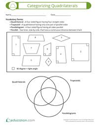categorizing quadrilaterals worksheet education com