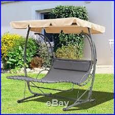 2 person hammock swing bed metal canopy shelter garden outdoor