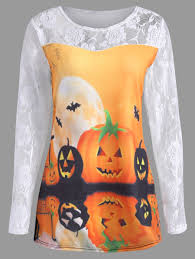 Plus Size Halloween Shirts by Plus Size Halloween Pumpkin Moon Lace Insert T Shirt White Orange