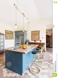 kitchen island in the middle of vintage sea stock photo image