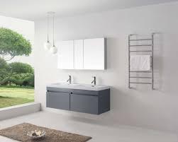 abersoch 55 inch wall mounted double sink bathroom vanity grey finish