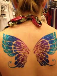 glitter butterfly wings tattoo on upperback temporary tattoos