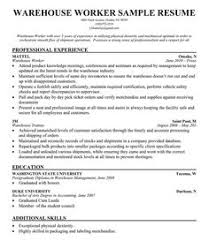 Warehouse Resume Examples Perfect Decoration Resume Templates For Warehouse Worker Unusual