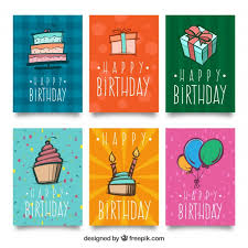 pack of six birthday cards with drawings vector free download