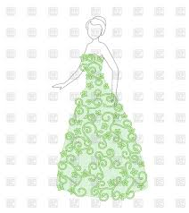 beautiful woman in floral dress sketch vector clipart image