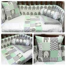 elephant theme baby linen in white grey u0026 mint for more details