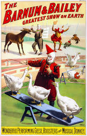 25 best vintage circus magician posters images on pinterest the barnum bailey greatest show on earth wonderful performing geese rooster and musical donkey vintage circus poster