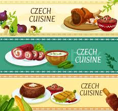 czech cuisine traditional dishes banners with roast pork knee