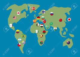 World Map Country Flags Map World With Biggest Country Flag Badges Royalty Free Cliparts