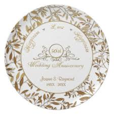50th wedding anniversary plates golden wedding anniversary plates zazzle co uk