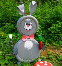 Easter Garden Decorations by Innovative Garden Rabbits Decor Tire Recycling Ideas 23 Animal