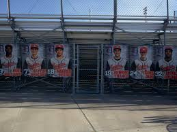 high school senior banners banners we made to look like baseball cards for dawson high school